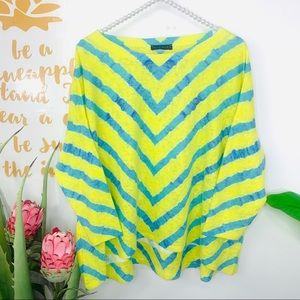 NALLY & MILLIE Yellow Blue Sweater Top 3/4 Sleeve